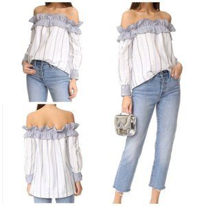 English Factory off the shoulder striped blouse